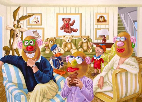 Mr & Mrs Potato Head and their spoilt child.  2009, 40 x 56 cm, gouache on paper.