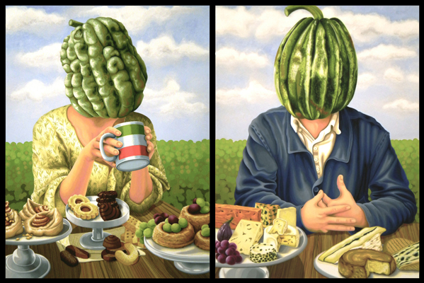 Mr & Mrs Zuccahead and their favourite dessert. 2011, 60 x 45 cm each, gouache on paper.