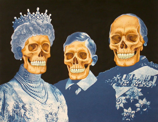 Dynasty. 2012, 28 x 35 cm, cyanotype print, watercolour, gouache and casein on paper.