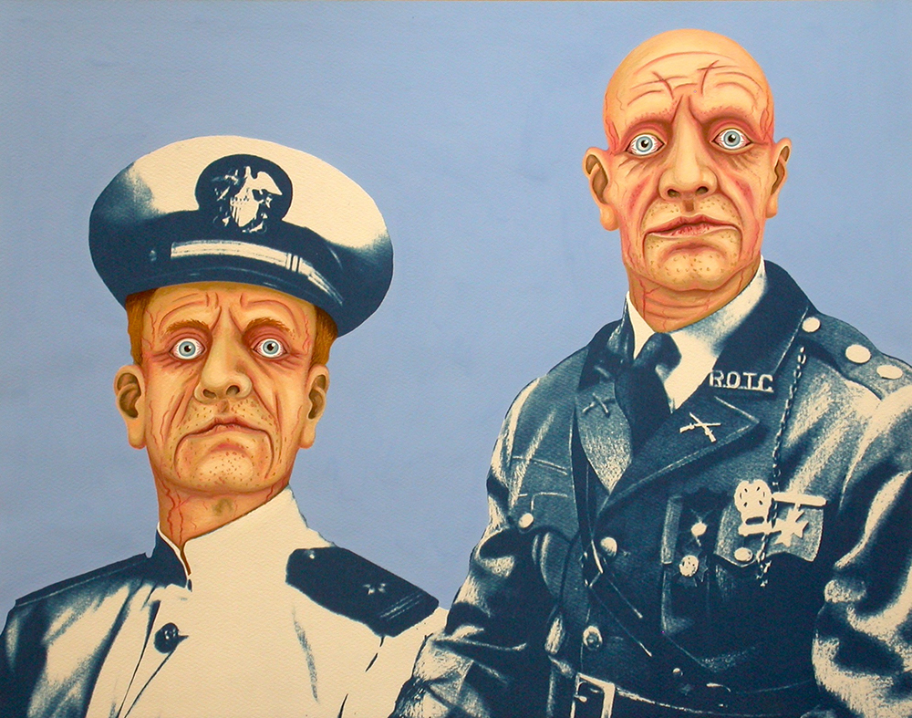 Military Zombies. 2012, 28 x 35 cm, cyanotype print, gouache and casein on paper.