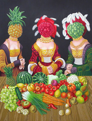 16th Century Fruit Heads. 2012, 85 x 65 cm, gouache on paper.